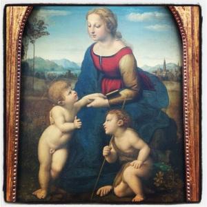 La Vierge à l'Enfant avec le petit saint Jean-Baptiste, dite La Belle Jardinière de Raffaello Santi