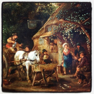 Carriole en arrêt devant une taverne d'Isaack van Ostade