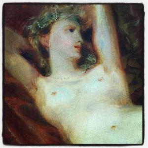 Étude de femme nue, couchée sur un divan, dit La femme aux bas blancs d'Eugène Delacroix