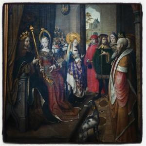 La sainte annonce à son père son départ en pèlerinage à Rome de Maître de la légende de Sainte Ursule