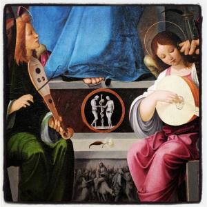 La vierge et l'enfant entourés de saint Benoît et saint Quentin et de deux anges de Francesco Marmitta