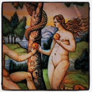 Adam et Eve tentés par le serpent, d'après une gravure de Bernard Salomon