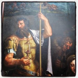 L'adoration des bergers entre saint Longin et saint Jean l'Evangéliste de Giulio Pippi
