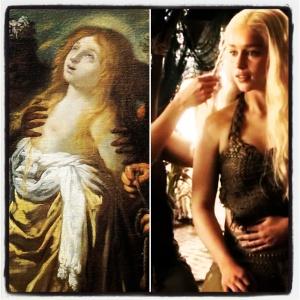 Sainte Catherine refusant de sacrifier aux idoles de Claude Vignon | Daenerys Targaryen présentée au Khal Drogo